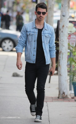 Joe Jonas leaves Blu Jam Cafe with a friend in West Hollywood, CA